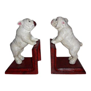 Rustic Cast Iron Bull Dog Bookends - A PAir