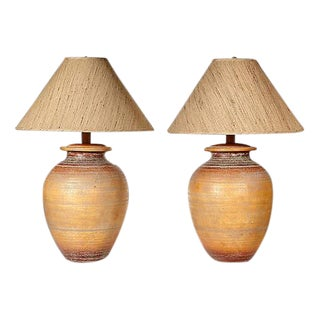 1970s Textured Ceramic Table Lamps - A Pair