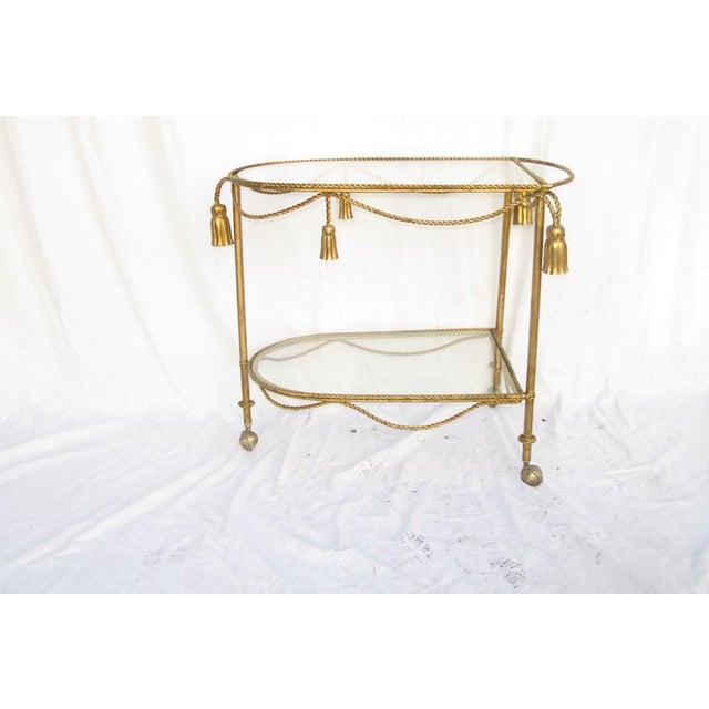 Hollywood Regency Gold Leaf Cocktail Cart - Image 3 of 7