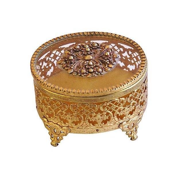1940s Brass & Glass Jewelry Trinket Box - Image 6 of 6