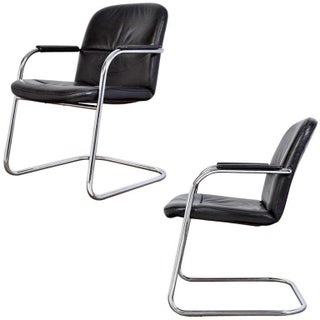 Mid-Century Leather & Chrome Armchairs - A Pair