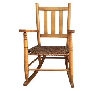 Antique Oak Rocker with Woven Seat