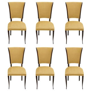 Set of Six French Art Deco Dark Mahogany Dining Chairs, Classic Style, 1940s