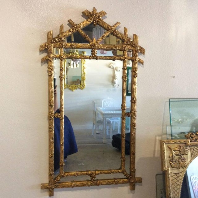 Vintage Hollywood Regency Floral Faux Bois Giltwood Wall Mirror - Image 6 of 8