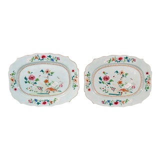 Pair of Chinese Export Famille Rose Porcelain Dishes