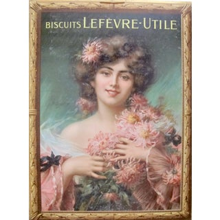 Belle Epoque Art Nouveau French Poster, Woman with Chrysanthemums