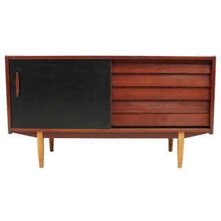 Danish Louvered Teak Compact Sideboard