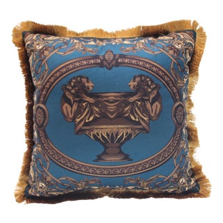 Sueded Cotton Lion & Urn Pillow Cover