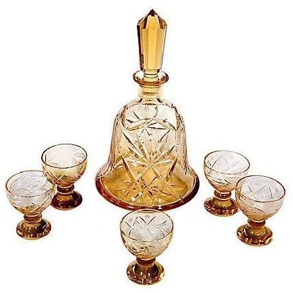 Image of Hand-Cut Glass Decanter Set - Set of 6