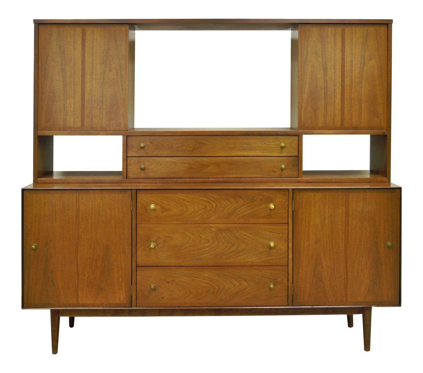 Vintage Stanley Mid Century Danish Modern Walnut Credenza Cabinet Bookcase