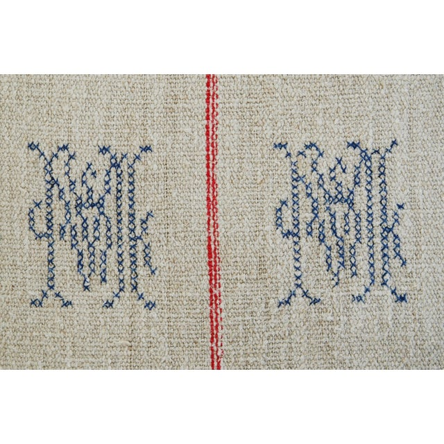 1940s French Grain Sack Textile Pillow - Image 5 of 7