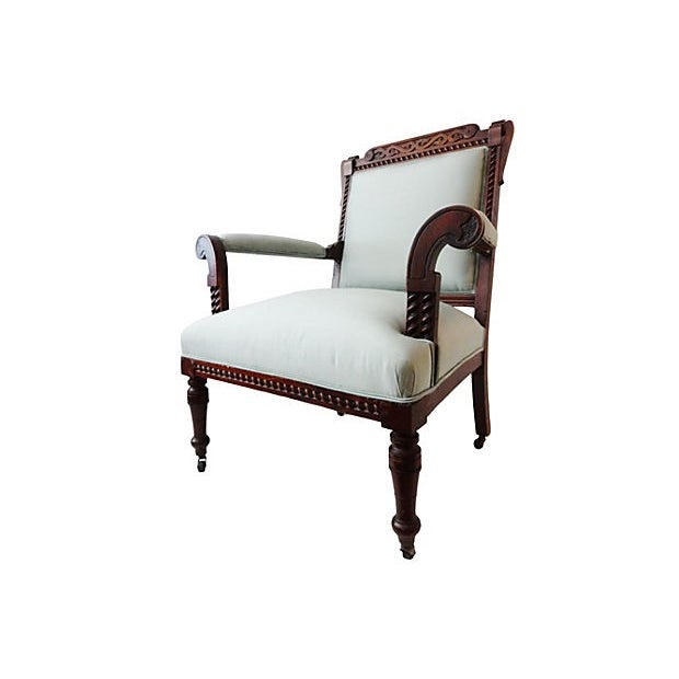 Antique Victorian Chair with Blue Silk - Image 5 of 7