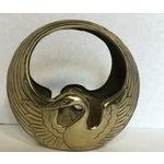 Image of Art Deco Style Brass Swan Basket