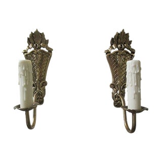 Gustavian Style Brass Sconces - A Pair