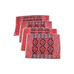Image of Handwoven Red Brocade Placemats - Set of 4