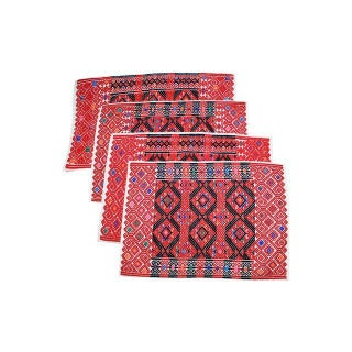 Handwoven Red Brocade Placemats - Set of 4