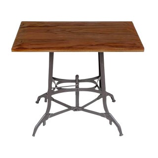 Metal Powder Coated Table With Walnut Top