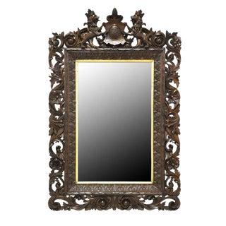 Antique Carved Black Forest Walnut Mirror