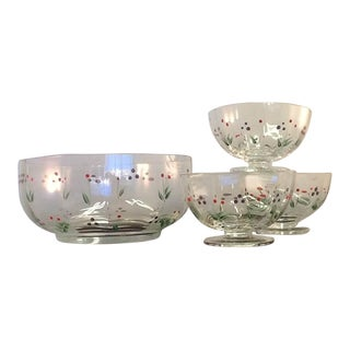 Vintage Crystal Serving Bowls. Crate & Barrel Hand-Painted Crystal. Set - 4