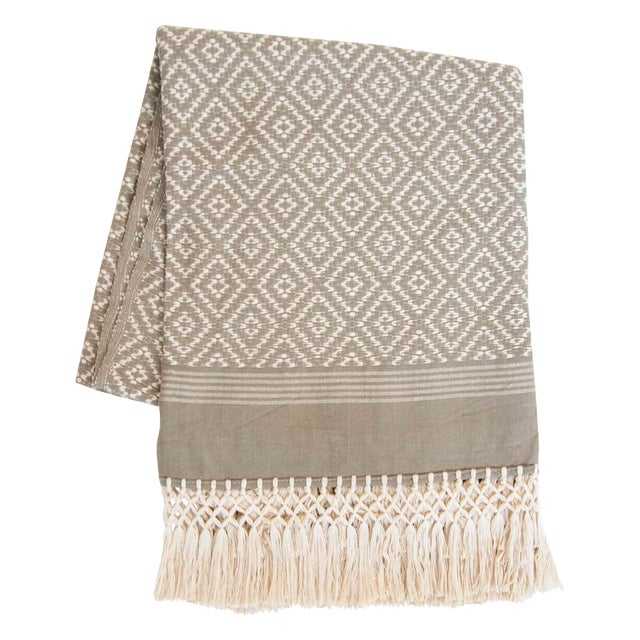 Taupe & Cream Handwoven Mexican Throw - Image 1 of 4
