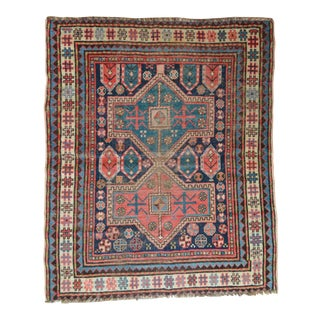 "Distressed Antique Kazak Rug - 3'8"" X 4'5"""