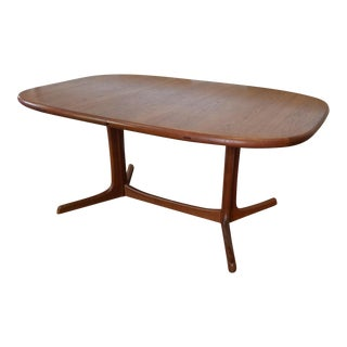 1970s Dyrlund Teak Danish Modern Trestle Dining Table