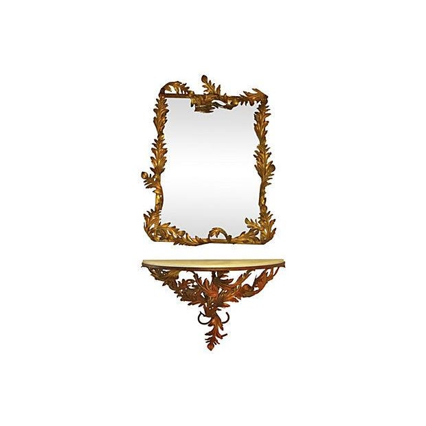 Image of Italian Gold Tole Mirror & Shelf