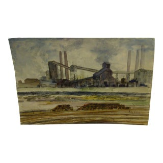"""1960 Painting on Paper """"Working Mill"""" by Betty Fisher"""