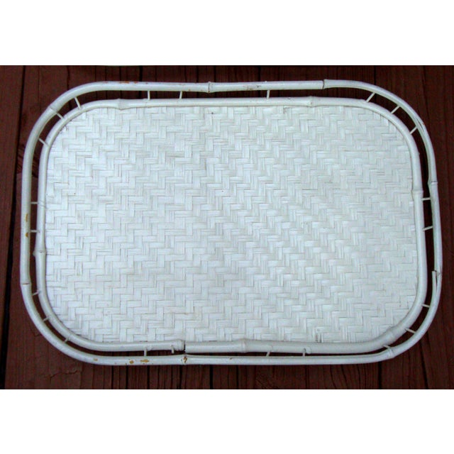 Hollywood Regency White Bamboo Rattan Trays - Image 6 of 11