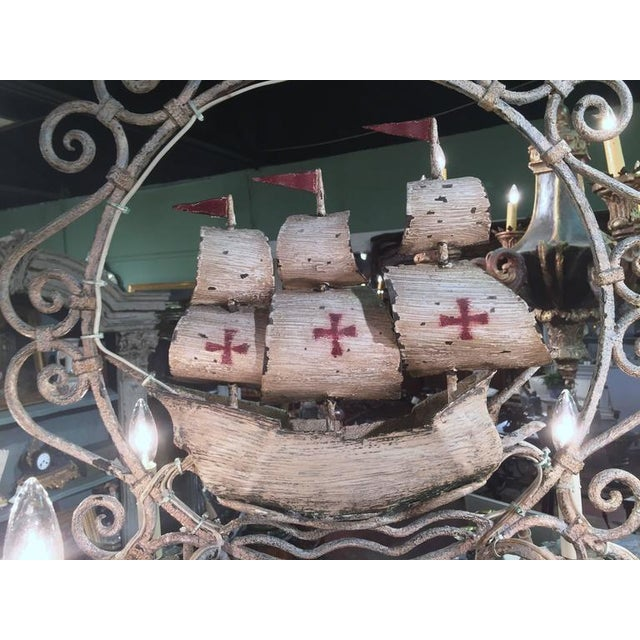 Mid-20th Century French Painted Iron 6-Light Sailboat Chandelier - Image 8 of 9