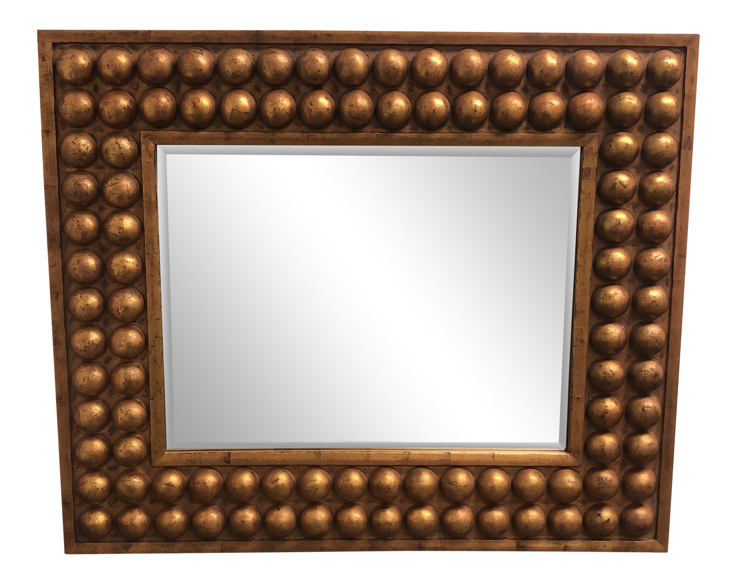 vintage bubble framed gold finish mirror