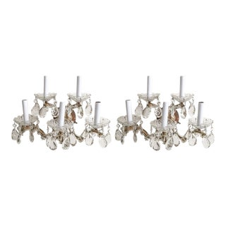 Vintage 1940s Cut Crystal & Brass Italian 5 Arm Sconces - A Pair