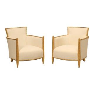 French circa 1940s Gilded Bergere Chairs with Ottoman
