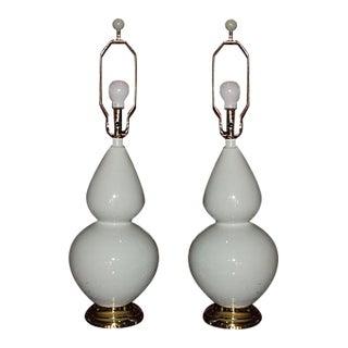 Mid-Century Modern Light Celadon Lamps - A Pair