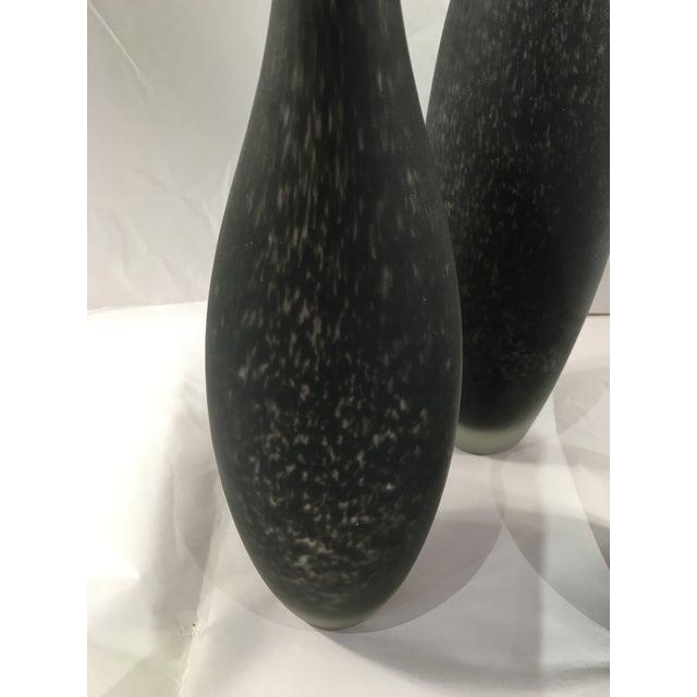 Image of Blown Glass Black Bottle Vases - Set of 3