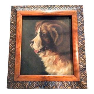 Antique Oil Painting of St. Bernard Dog