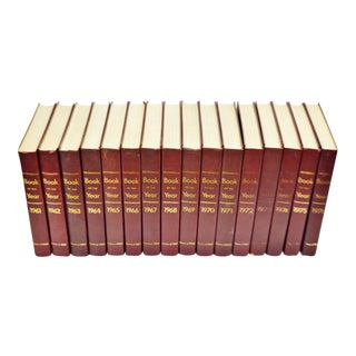 1961 - 1976 Britannica Book Of The Year Leather Bound Books - S/16