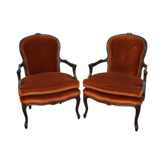 French Louis XV Style Pair of Vintage Fauteuils Arm Chairs