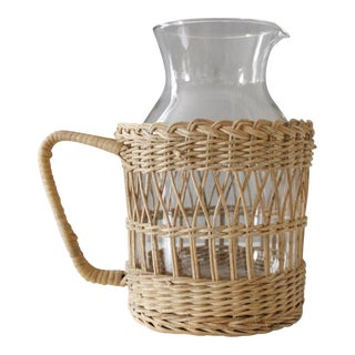 Vintage Wicker & Glass Serving Pitcher Mid Century Boho