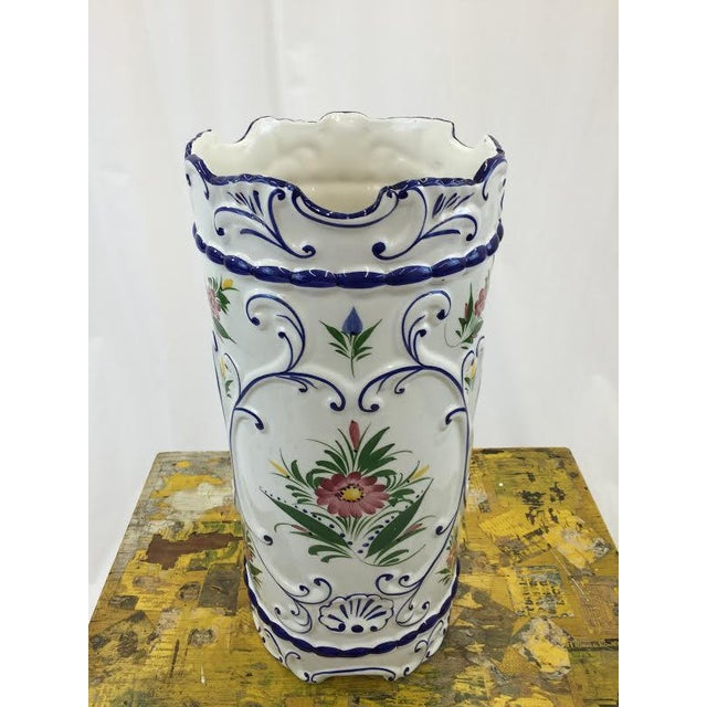 Hand Painted Ceramic Umbrella Stand or Tall Vase - Image 3 of 5