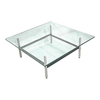 Poul Kjaerholm Mid-Century Steel & Glass Coffee Table