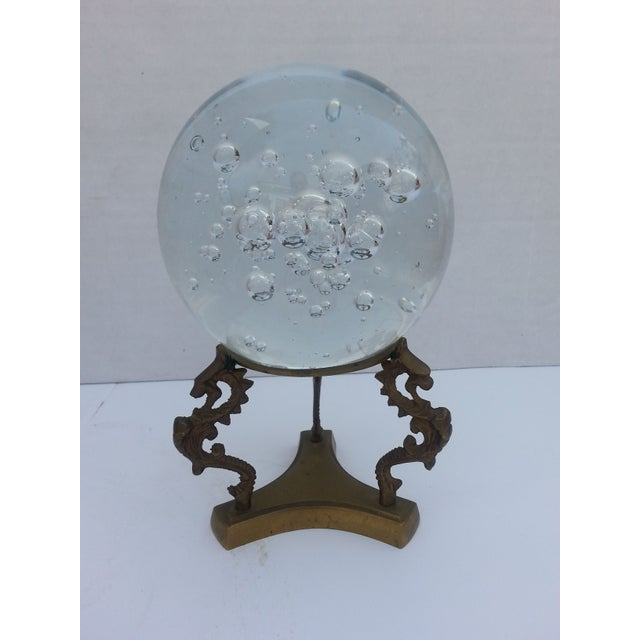 Glass Sphere on Brass Stand - Image 2 of 3