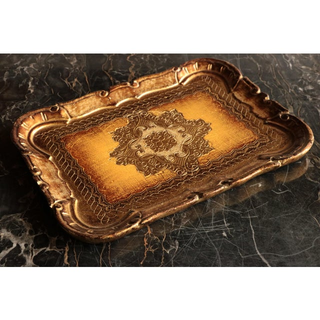 Golden Florentine Wood Tray - Image 5 of 7