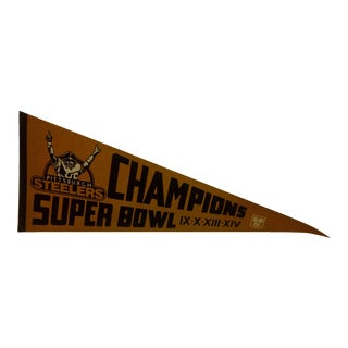 1980 Vintage NFL Pittsburgh Steelers Super Bowl Champions Team Pennant