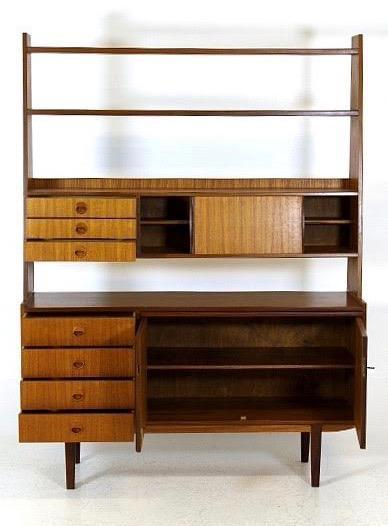 vintage danish mid century modern teak bookshelf secretary credenza desk image 3 of 5