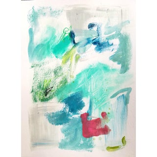 Teal Blaze Mixed Media Abstract Painting