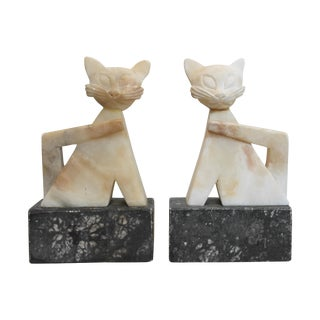Vintage Sculptural Cat Marble Bookends - A Pair