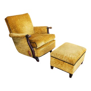 Antique Recliner With Crushed Yellow Velvet - a Pair