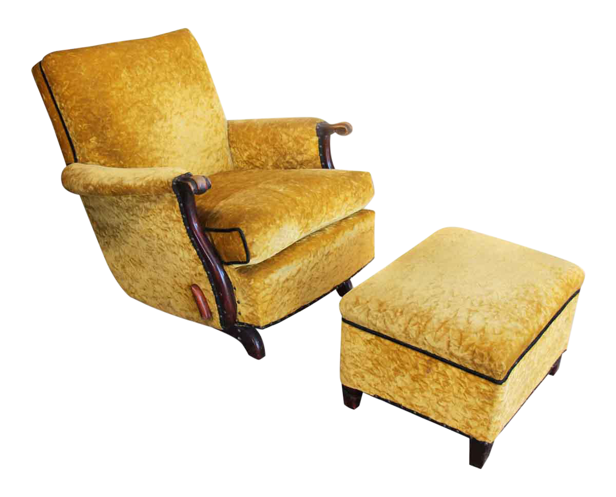 Antique Recliner With Crushed Yellow Velvet - a Pair  sc 1 st  Chairish & Vintage u0026 Used Brown Chair and Ottoman Sets | Chairish islam-shia.org