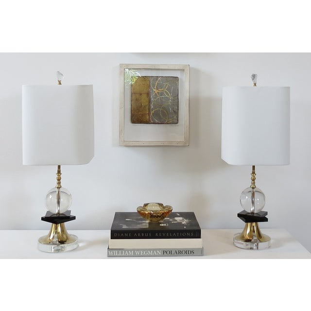 1970's Brass and Black Glass Lamps - Pair - Image 4 of 5
